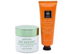 Apivita Shine Bright Bee Radiant Age Defense Illuminating Cream 50ml & Face Mask with Orange 50ml